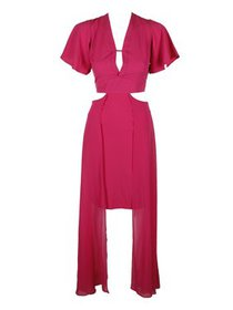 Xoxo Juniors Pink Short-Sleeve Cutout Maxi Dress X