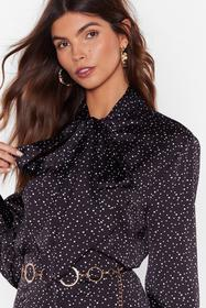 Nasty Gal Black Dot Goin' Anywhere Pussybow Blouse