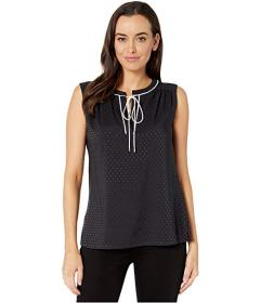 Tommy Hilfiger Sleeveless Pleat Tie Neck Top
