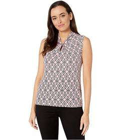 Tommy Hilfiger Sleeveless Geo Print Knot Neck Top