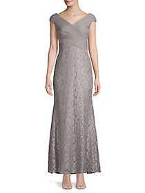 Eliza J Lace Cap-Sleeve Gown TAUPE