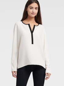 Donna Karan LONG SLEEVE SPLIT NECK TOP