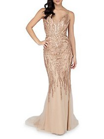 Glamour by Terani Couture Sexy Beaded Column Gown