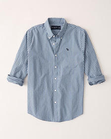 Icon Poplin Button-Up Shirt, BLUE CHECK WITH MOOSE