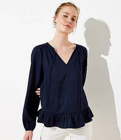 Split Neck Ruffle Blouse