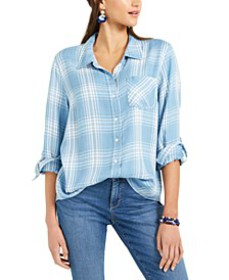 One-Pocket Plaid Top, Created For Macy's