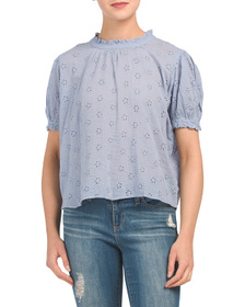 FREE PEOPLE Letters To Juliet Puff Sleeve Eyelet T