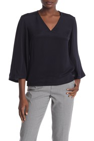 DEREK LAM Alex Silk V-Neck 3/4 Sleeve Blouse