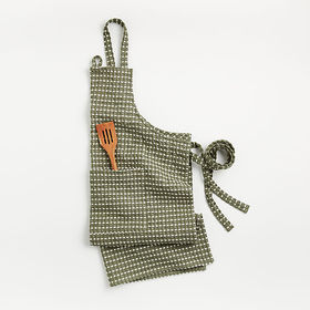 Crate Barrel Olive Waffle Chambray Apron