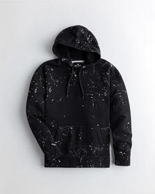 Hollister Paint Splatter Hoodie, BLACK WITH SPLATT
