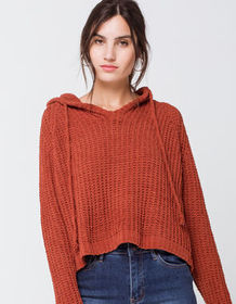 RSQ Chenille Hooded Split Back Rust Womens Sweater