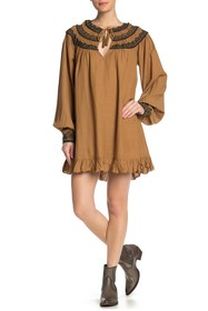 Free People Erin Embroidered Long Sleeve Mini Dres