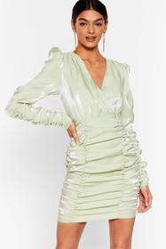 Nasty Gal Mint It's Your Shine Ruched Mini Dress
