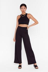 Nasty Gal Black Get Straight to It Top and Wide-Le