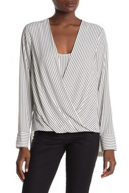 BCBGMAXAZRIA Long Sleeve Wrap Stripe Top