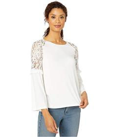 Wrangler Lace and Knit Mix Bell Sleeve