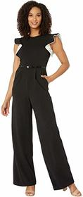 Calvin Klein Ruffle Arm Jumpsuit with Contrast Lin
