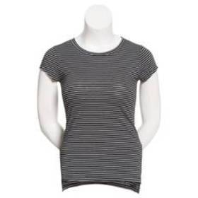 Juniors Poof! Micro Striped Crew Neck Neutral Top