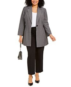 Plus Size Glen Plaid Pantsuit