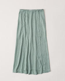 High Slit Midi Skirt, MINT GREEN DOT