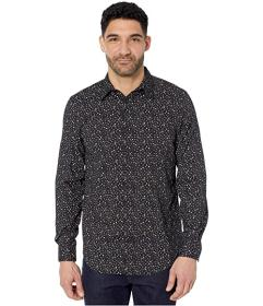 Perry Ellis Floral Print Stretch Long Sleeve Butto