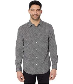 Perry Ellis Etched Grid Print Stretch Long Sleeve