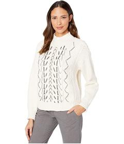 Vince Camuto Chain Trim Cable Stitch Mock Neck Swe