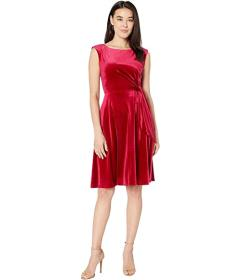 Tahari by ASL Petite Stretch Velvet Side Tie Dress