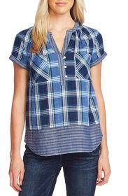 Vince Camuto Roll Sleeve Plaid Top