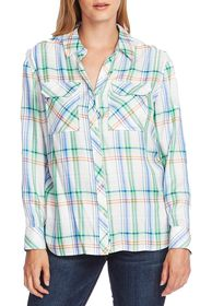 Vince Camuto Orchard Herringbone Plaid Button Fron