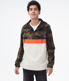Aeropostale Colorblocked Camo Hooded Anorak Jacket