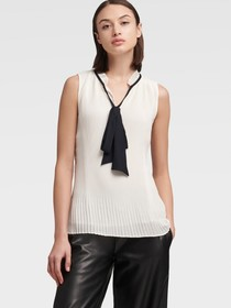 Donna Karan PLEATED SLEEVELESS TOP WITH TIE NECK