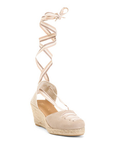 PASEART Made In Spain Lace Up Suede Espadrille Wed