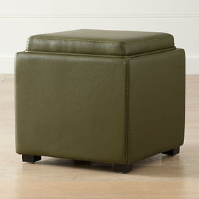 "Crate Barrel Stow Olive Green 17"" Leather Storage"