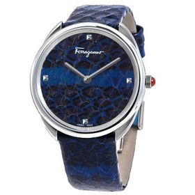 FerragamoCuir Quartz Blue Dial Ladies Watch