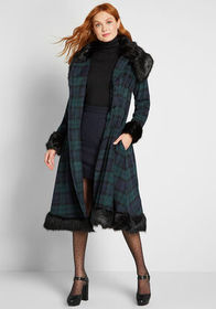 Collectif Collectif Luxe-y in Love Coat Green Plai