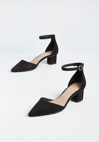 To and Fro Ankle Strap Heel Black