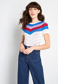 ModCloth Nostalgic Bliss Short Sleeve Sweater Ivor