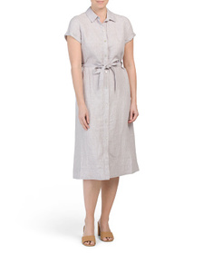 C&C CALIFORNIA Linen Button Front Midi Dress