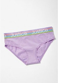 Justice Lilac Glitter Logo Waist Hipster