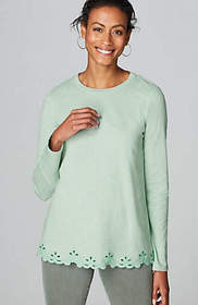 Embroidered-Border Knit Top