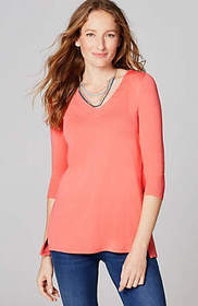 Pima 3/4-Sleeve V-Neck Top