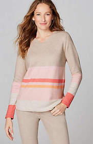 Mixed-Stripes V-Neck Sweater