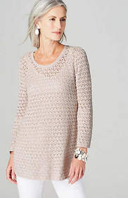 Flounced-Sleeve Open-Stitch Sweater