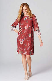Mixed-Florals Flared-Sleeve Dress