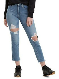 Levi's Good 724 Distressed High-Rise Cropped Jeans