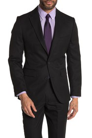 MOSS BROS Black Solid Two Button Notch Lapel Tailo