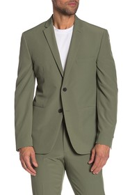 Perry Ellis Green Solid Two Button Notch Lapel Ver