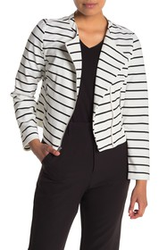 Bagatelle Striped Asymmetrical Zip Jacket (Petite)