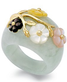 Jade and Multicolored Mother of Pearl (8mm) Flower
